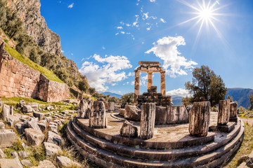Printed kitchen splashbacks Athens Delphi with ruins of the Temple in Greece