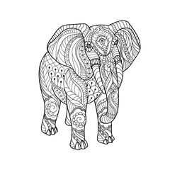 Elephant on white background. Black and white lines. Freehand sketch for adult anti stress coloring book page with doodle and zentangle elements.