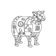 Steam punk sheep. Mechanical animal.  Freehand sketch for adult anti stress coloring book page with doodle and zentangle elements.
