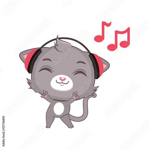 """Cute gray cat character listening to music"" Stok ..."