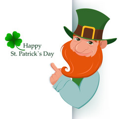 Happy Saint Patrick's Day. Cartoon happy leprechaun showing on white sign. Character with green hat and red beard and four leaf clover. Vector modern illustration on holiday