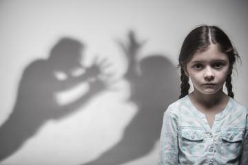 Fototapeta Silhouette of parents expressing quarrel obraz
