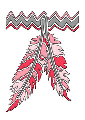 Ausmalbild Indianer Feder koloriert