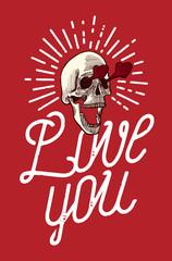 Skull in love thin line calligraphy grunge valentines print