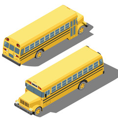 School bus isometric vector illustration isolated on white background.