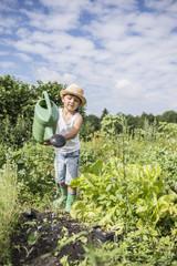 Little boy watering seedling in a community garden, Bavaria, Germany