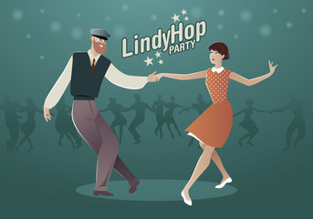 Fototapete - Lindy Hop Party. Young hipster couple dancing swing. Cartoon style