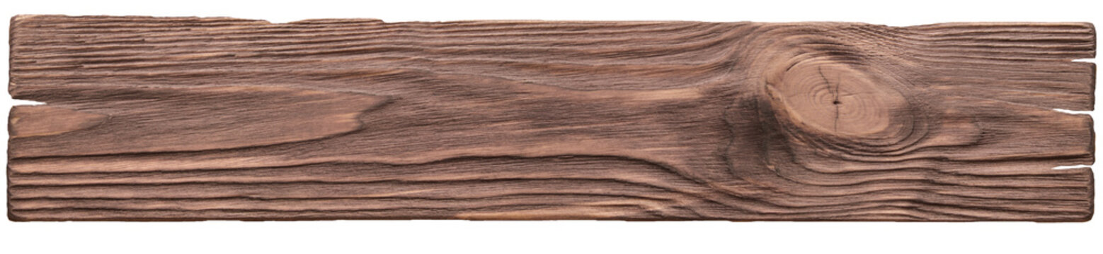 Old plank of wood. Isolated on white background.