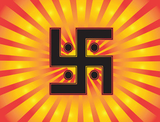 The most important symbol in the religion of Jainism -  the Sun Swastika. Gradient red and gold background, red and gold sun rays, vector
