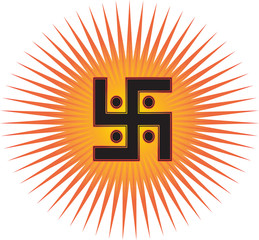 The most important symbol in the religion of Jainism -  the Sun Swastika, red and gold sun rays, vector