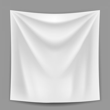 Blank white banner hanging on the grey wall vector template.
