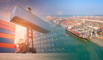 Double exposure forklift truck and container shipping boat at shipping yard.Photo concept for Global business shipping,Logistic,Import and Export industry.