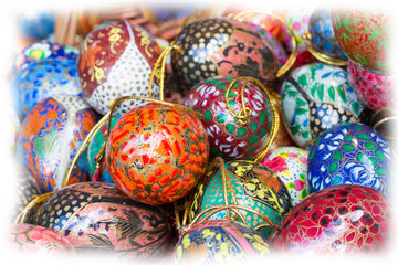 Many colorful painted Easter egg  at the traditional European market