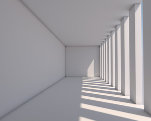White gallery illuminated by sunlight architectural background.