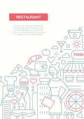 Restaurant - line design brochure poster template A4