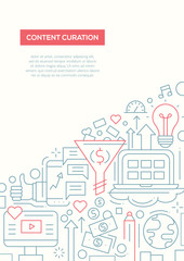 Content Curation - line design brochure poster template A4