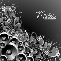 Vector music illustration with speakers on floral background. Eps 10.
