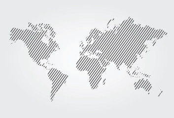 Vector lined gray world map.