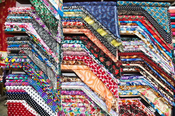Traditional  fabric at the street market in Flores, Guatemala.