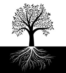 Tree silhouette with leaves and roots vector background