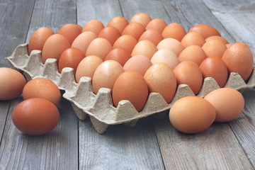 fresh chicken brown eggs in packing, toning
