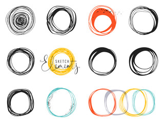 Set of scribble circles. Use for posters, art prints, greeting and business cards, banners, icons, labels, badges and other graphic designs.