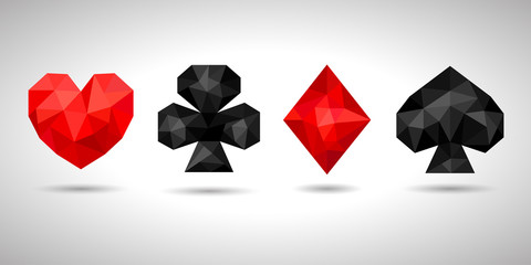 Playing card suits, icon, symbol set. Geometric triangle style, low poly. JPG with isolated path