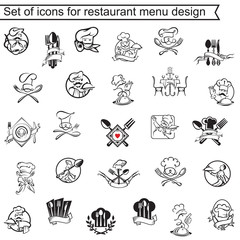 collection of icons for restaurant menu design
