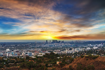 Wall Mural - Los Angeles under a colorful sky at sunset
