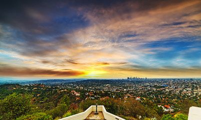 Wall Mural - Los angeles cityscape at sunset
