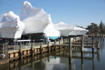 Boats shrin wrapped and stored for winter