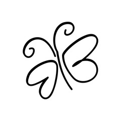 monochrome contour with sketch butterfly vector illustration