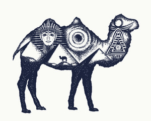 Camel tattoo art. Ancient Egypt, Pharaoh, Ankh, Pyramid. Symbol of archeology, ancient civilizations