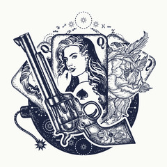 Revolver, playing cards, beautiful girl, bomb tattoo art. Casino, criminal background