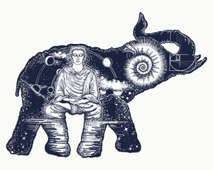 Elephant tattoo art. Symbol of spirituality, meditation, yoga, traveling. Buddha, ammonite, mountains
