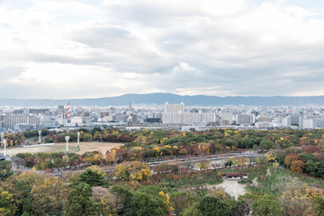 Aerial View of Osaka city in autumn, Kansai, Japan.