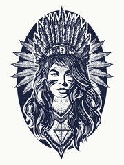 Native American woman tattoo art. Ethnic girl warrior