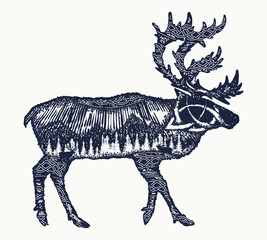 Reindeer double exposure tattoo art. Symbol tourism, travel, far north. Mountains, polar light, celtic pattern