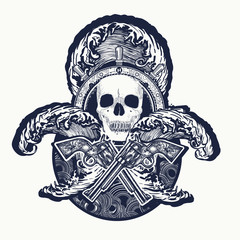 Pirate, crossed guns, skull, sea waves tattoo art. Symbol sea adventures