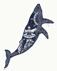 Whale tattoo art.  Symbol Travel, adventure tourism. Lighthouse and waves. Double exposure animals