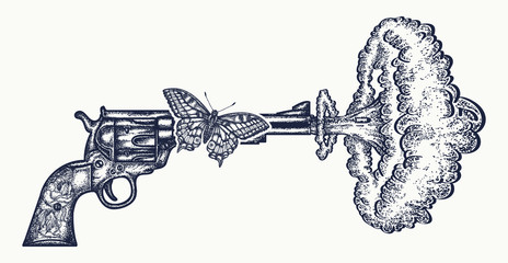 Gun shoots slow motion tattoo art. Symbol of love and hate, war and peace