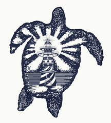 Turtle tattoo art. Symbol of tropical travel, adventure, surf. Lighthouse on edge of cliff