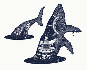 Whale double exposure surreal tattoo. Steering wheel lighthouse, storm. Travel, adventure, outdoors symbol