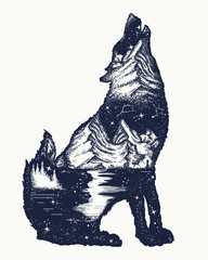 Wolf double exposure tattoo art. Symbol tourism, travel, adventure, outdoor