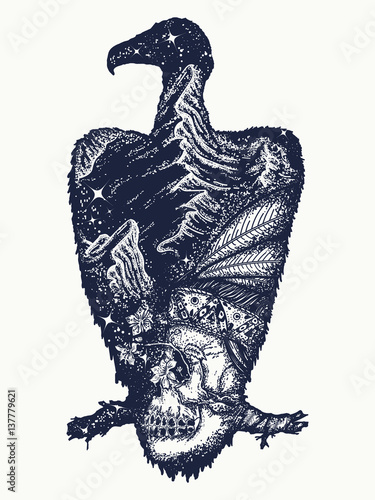 quotvulture tattoo art indian skull and mountains symbol of
