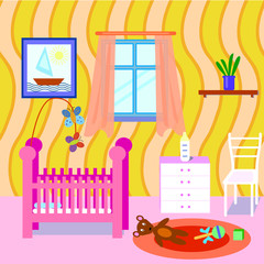 Baby room interior. Flat design. Colorful baby room with many object and toys