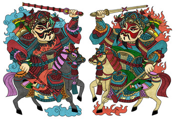 """illustration of traditional Chinese Pattern and Drawing """"Door guardians"""""""