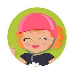 Smiling Girl in Pink Helmet. Simple Cartoon Style