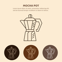 Mocha pot illustration. Household appliances isolated.