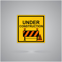 Warning attention sign. Under construction concept in flat design style.